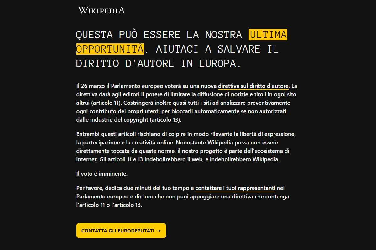 Il nuovo allarme di Wikipedia sul voto del Parlamento europeo per la direttiva sul diritto d'autore