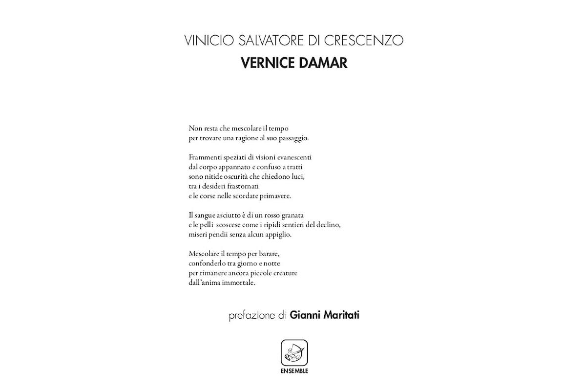 Vernice Damar è la nuova silloge poetica di Vinicio Salvatore Di Crescenzo