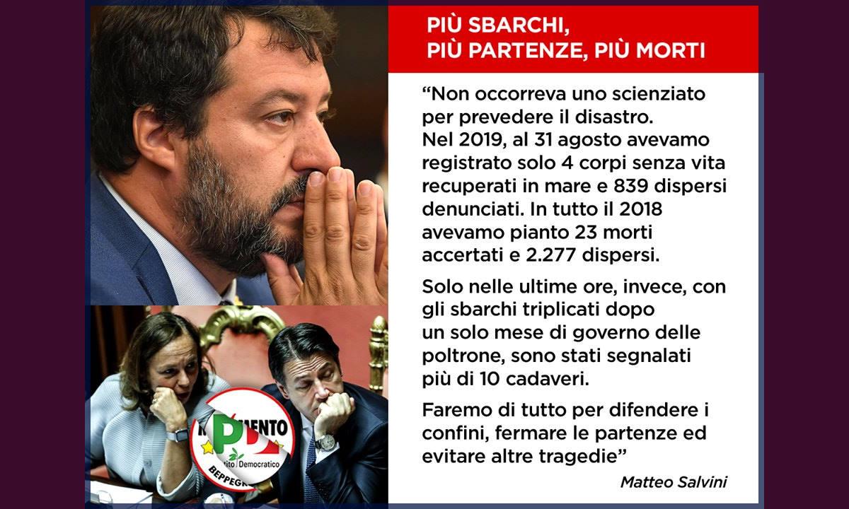 Senza parole, lo sciacallaggio di Matteo Salvini sulla pelle dei migranti morti il 7 ottobre nei pressi di Lampedusa