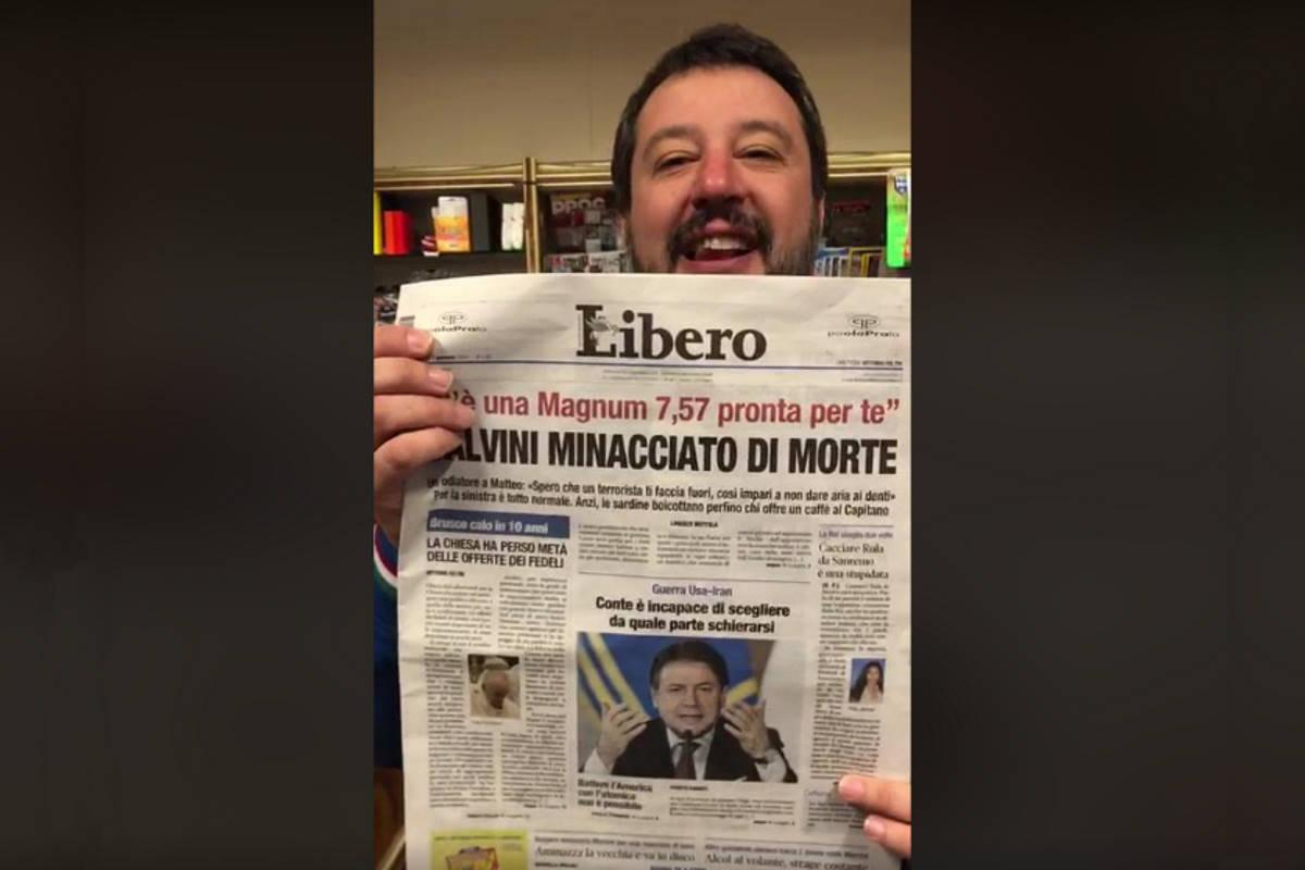 Nuova uscita sui social: il comico Salvini interpreta il leghista Salvini che scopre di essere minacciato di morte