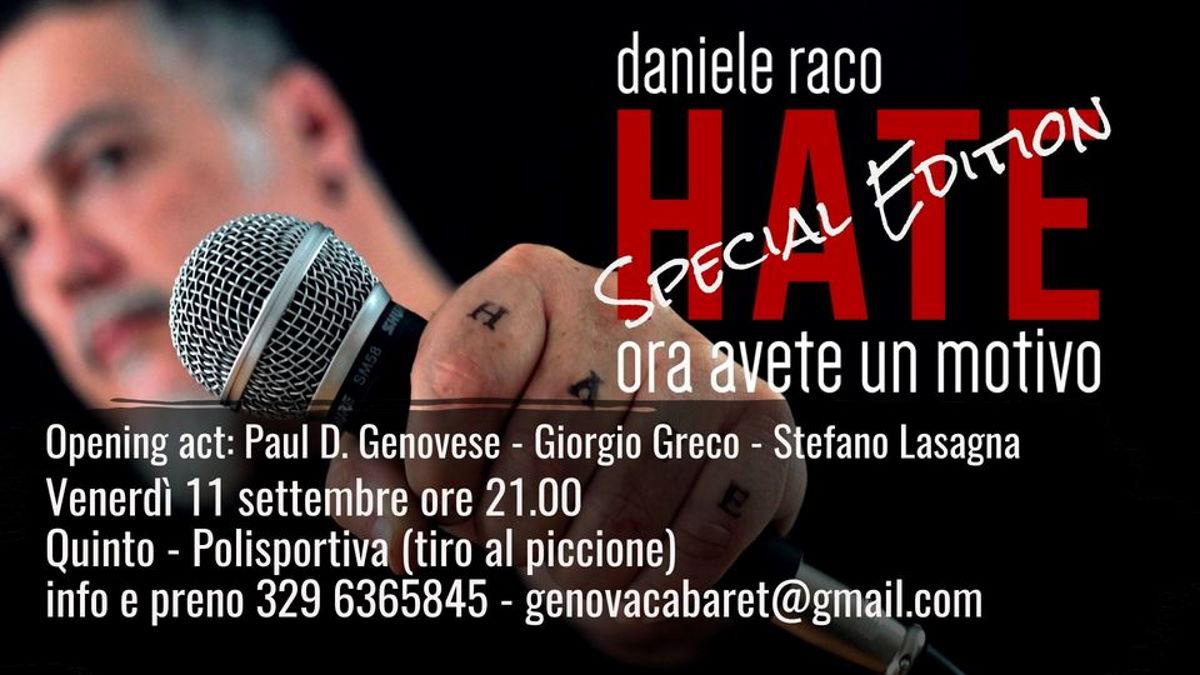 Senza filtri e dissacrante: lo stand-up comedian Daniele Raco al Palaquinto di Genova con una nuova versione di Hate