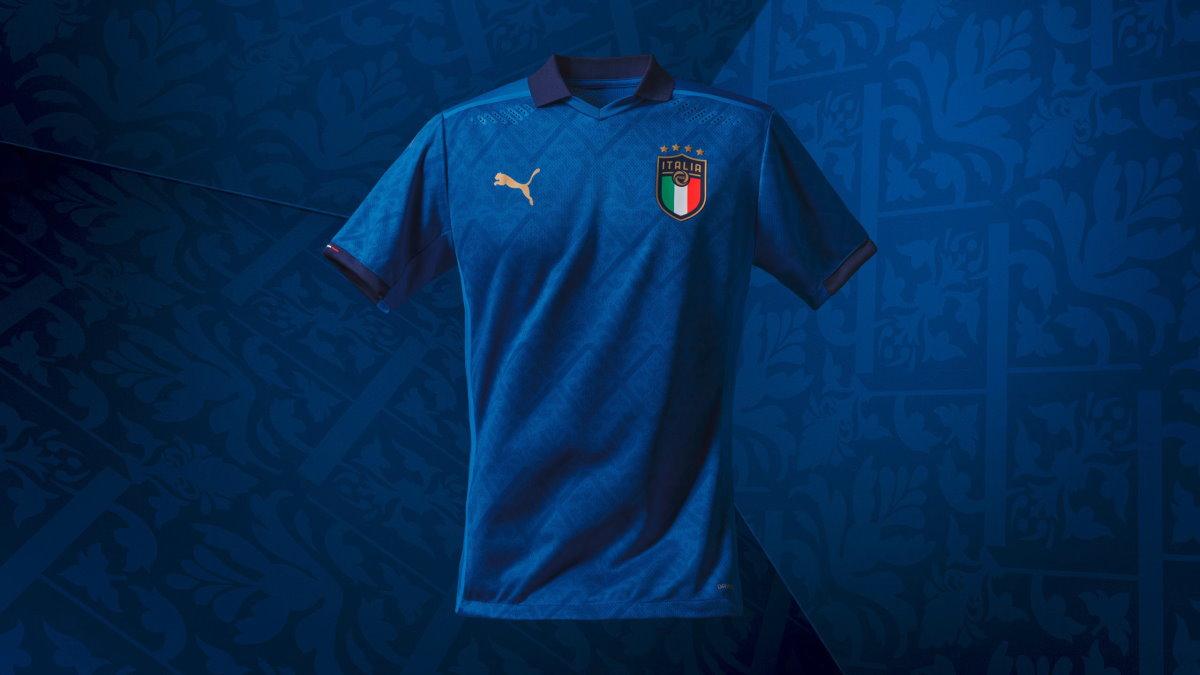 Puma presenta la nuova maglia rinascimentale della nazionale con le foto di una gang di calciatori azzurri