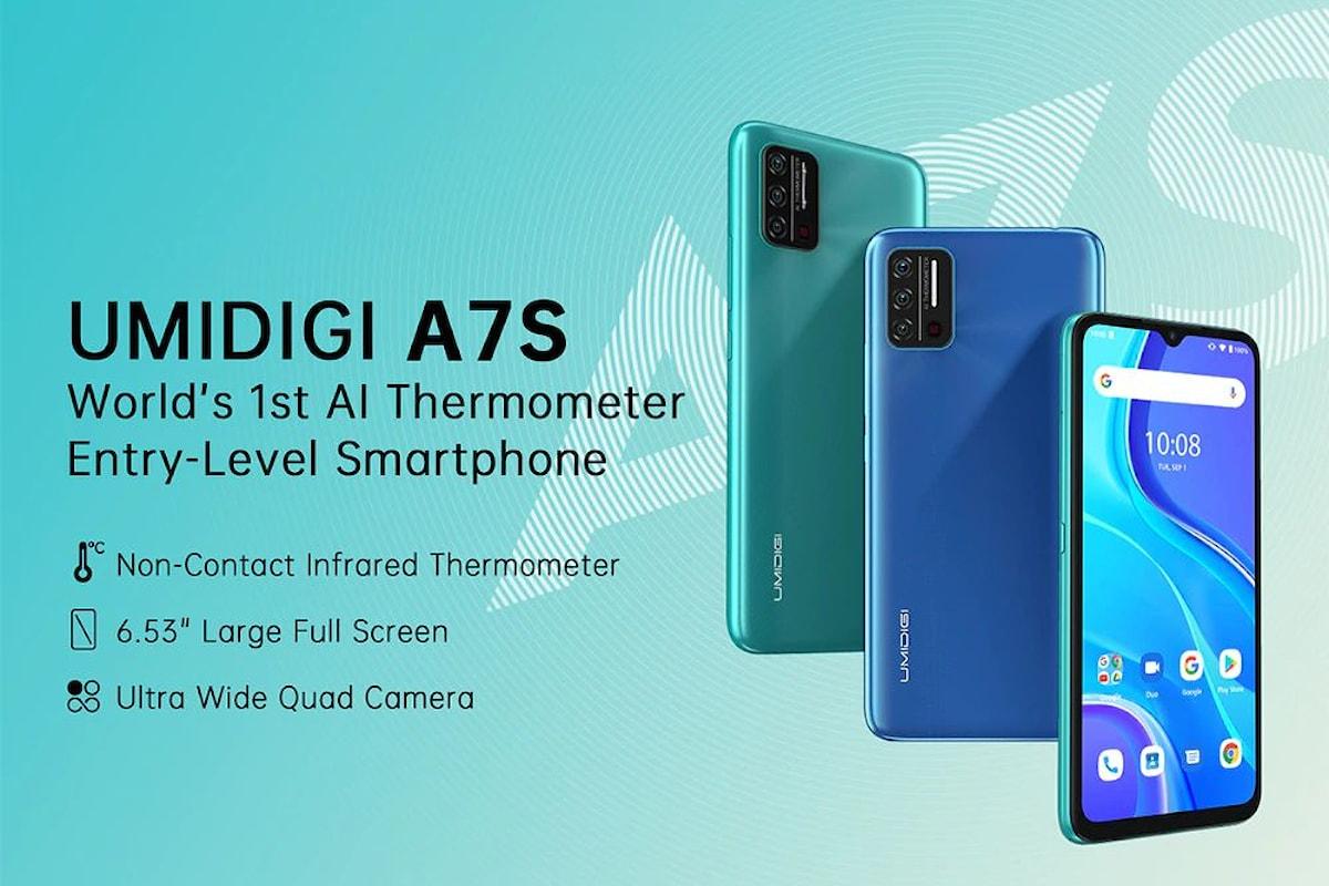 Lancio globale per l'UMIDIGI A7S: meno di 60 euro per il primo smartphone che integra un termometro ad infrarossi