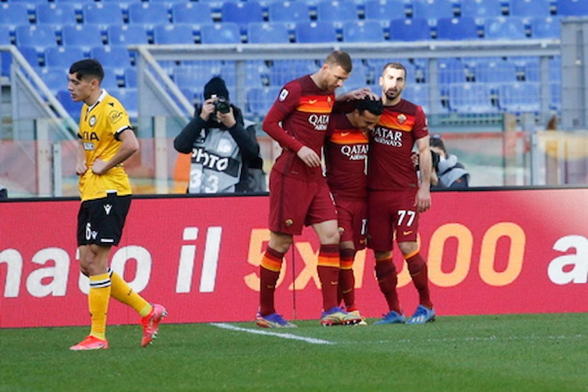 Serie A: alla 3.a giornata di ritorno Roma batte Udinese 3-0