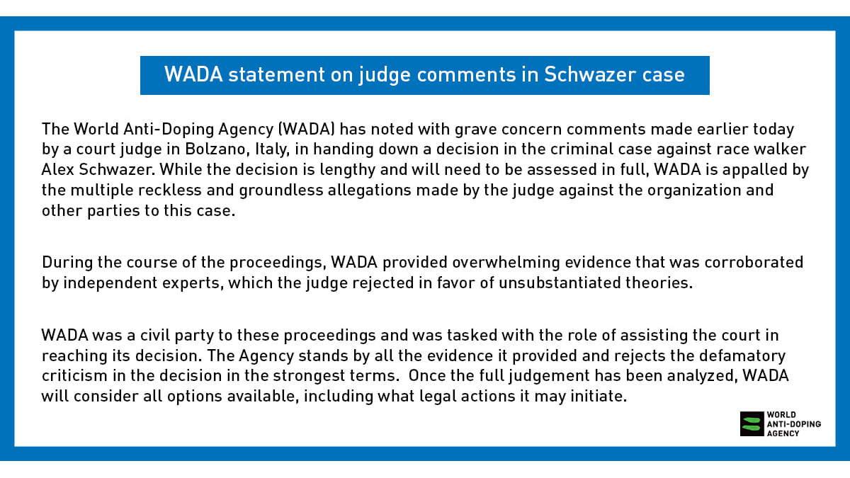 Caso Schwazer: la Wada non ci sta e minaccia azioni legali