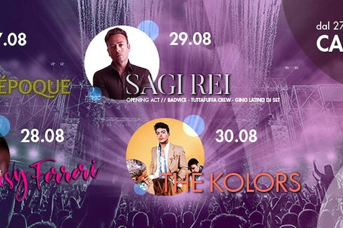 Il Foro Festival - Carmagnola (TO): il 27/8 Belle Époque Show. Il 28/8 Giusy Ferreri, il 29/8 Sagi Rei e il 30/8 The Kolors