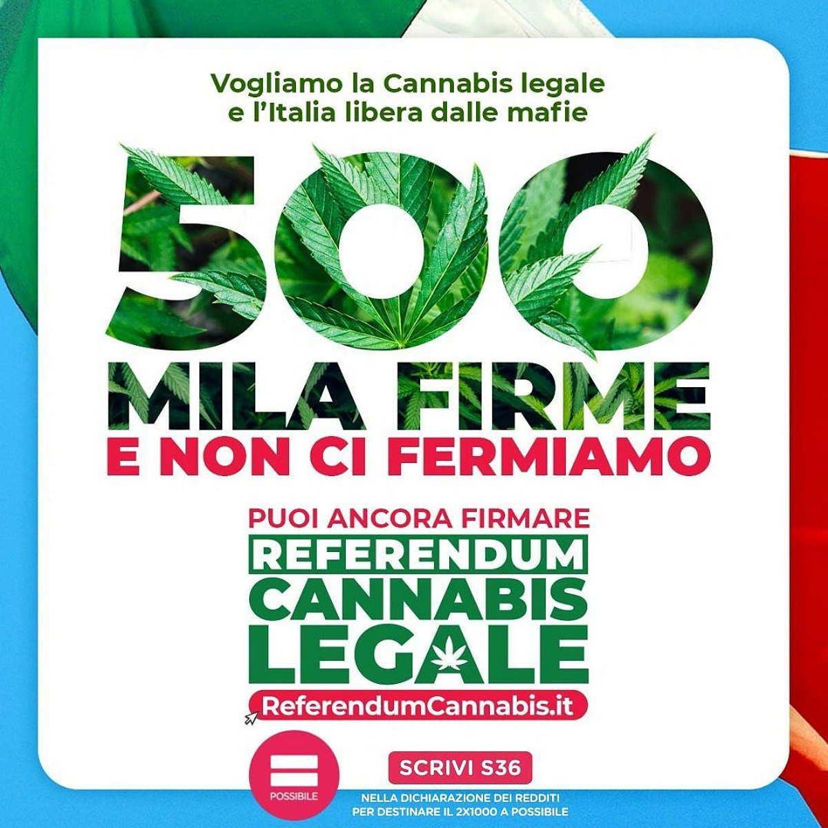 Il referendum per legalizzare la cannabis raggiunge il traguardo delle 500mile firme in appena una settimana