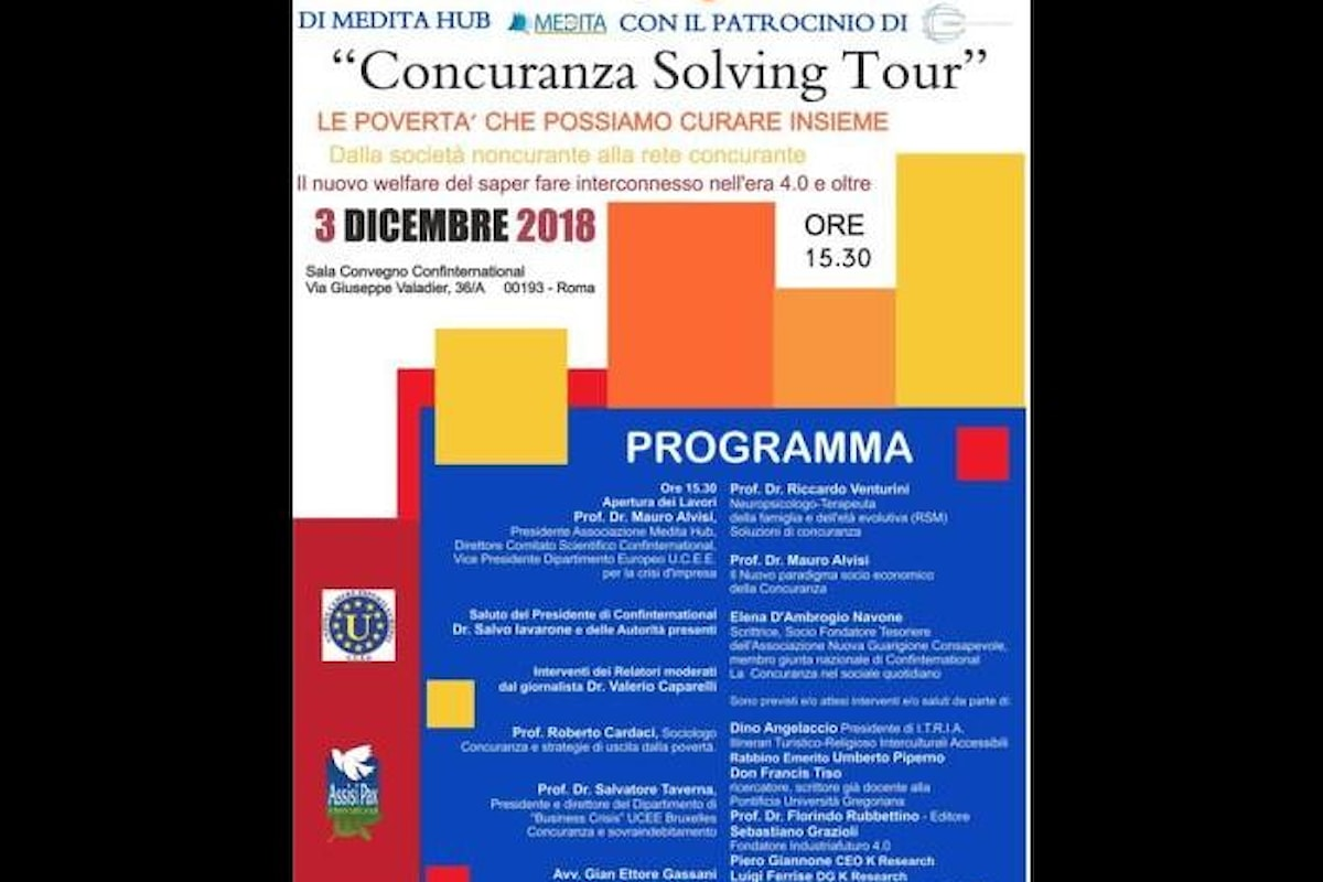 Il ConCuranza Solving Tour farà tappa a Roma in Confinternational per un incontro tra culture, religioni, territori ed economie