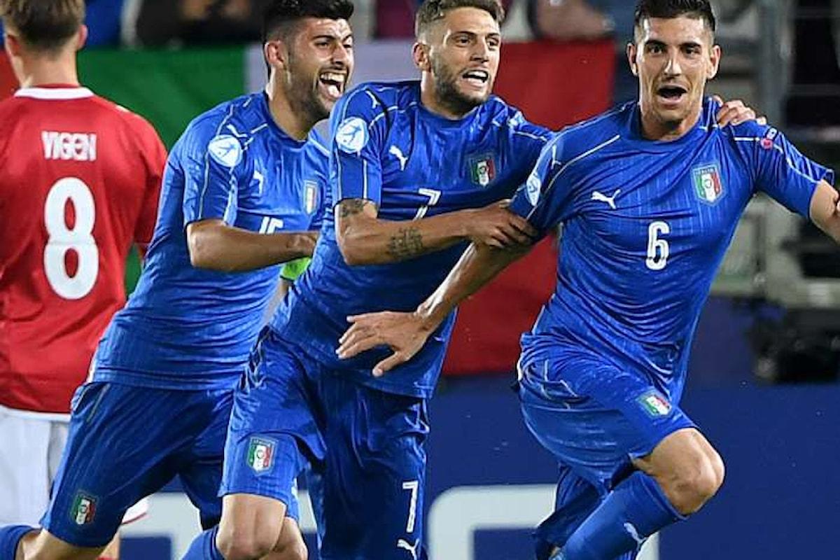 Italia batte Danimarca 2-0 all'esordio degli Europei Under 21