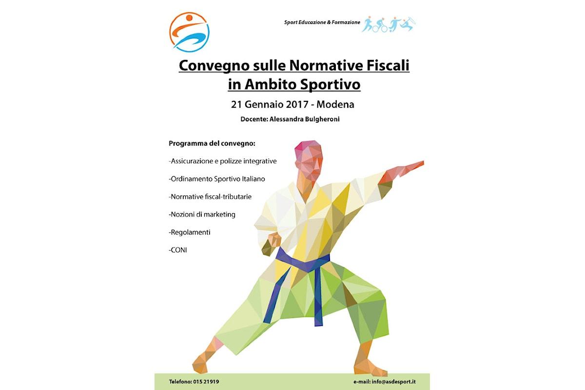 A Modena, convegno sulle normative fiscali in ambito sportivo il 21 gennaio 2017