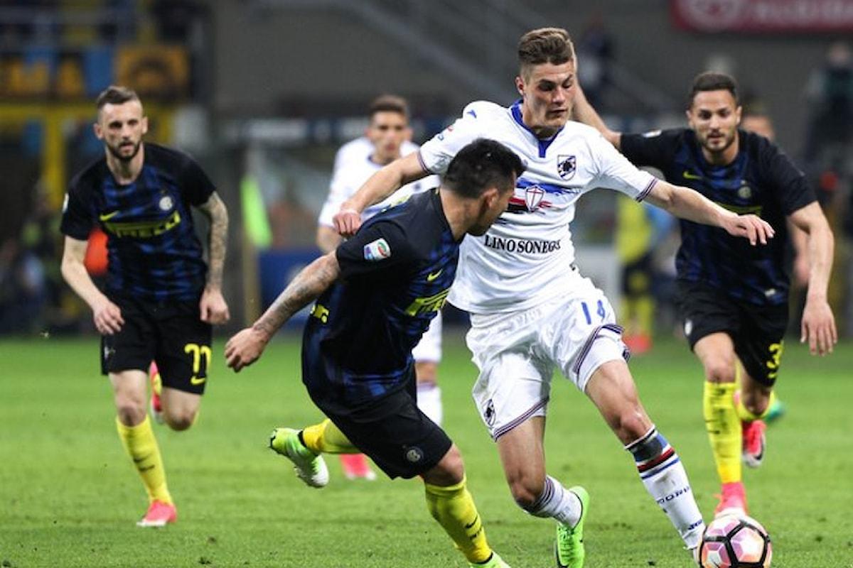 Martedì l'anticipo della 10.ma di serie A tra Inter e Sampdoria