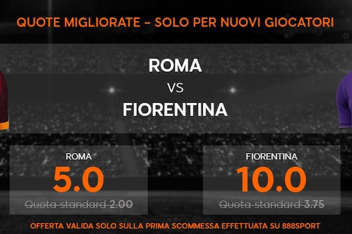 Serie A: Attacchi da goal in Roma-Fiorentina. Entrambe a segno a 1,74