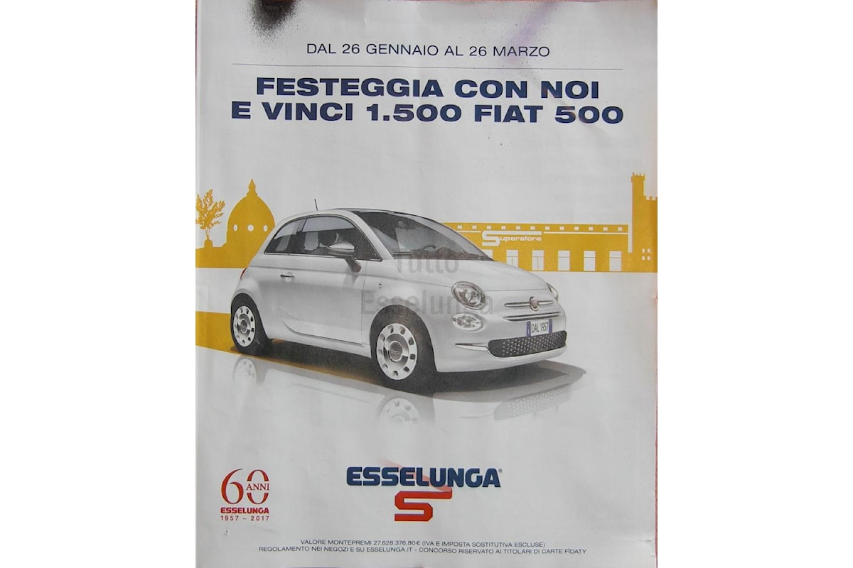 Festeggia con Esselunga e vinci 1500 Fiat 500