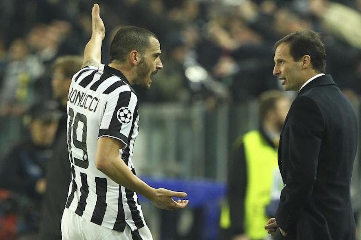 Juventus, Bonucci e Allegri non se le mandano a dire, ma c'è la giusta tensione per la Champions