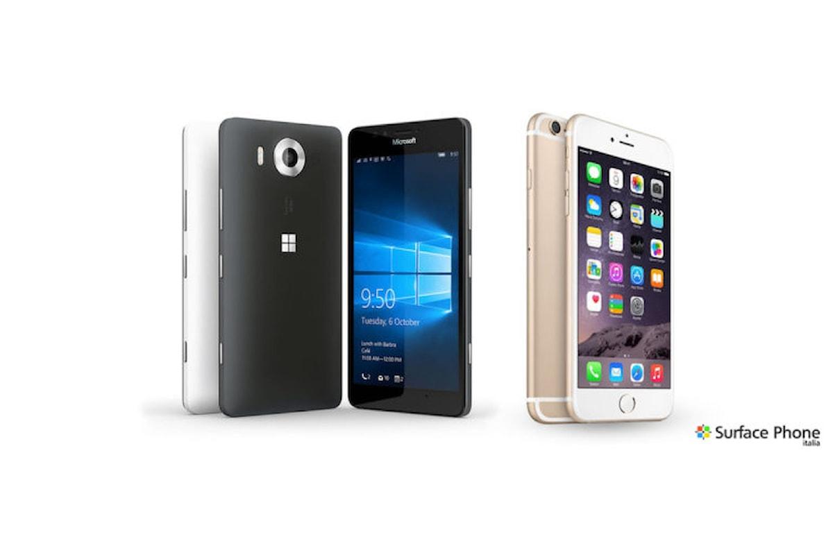 iPhone 6s e Lumia 950 a confronto: chi avrà la meglio? Scoprilo | Surface Phone Italia