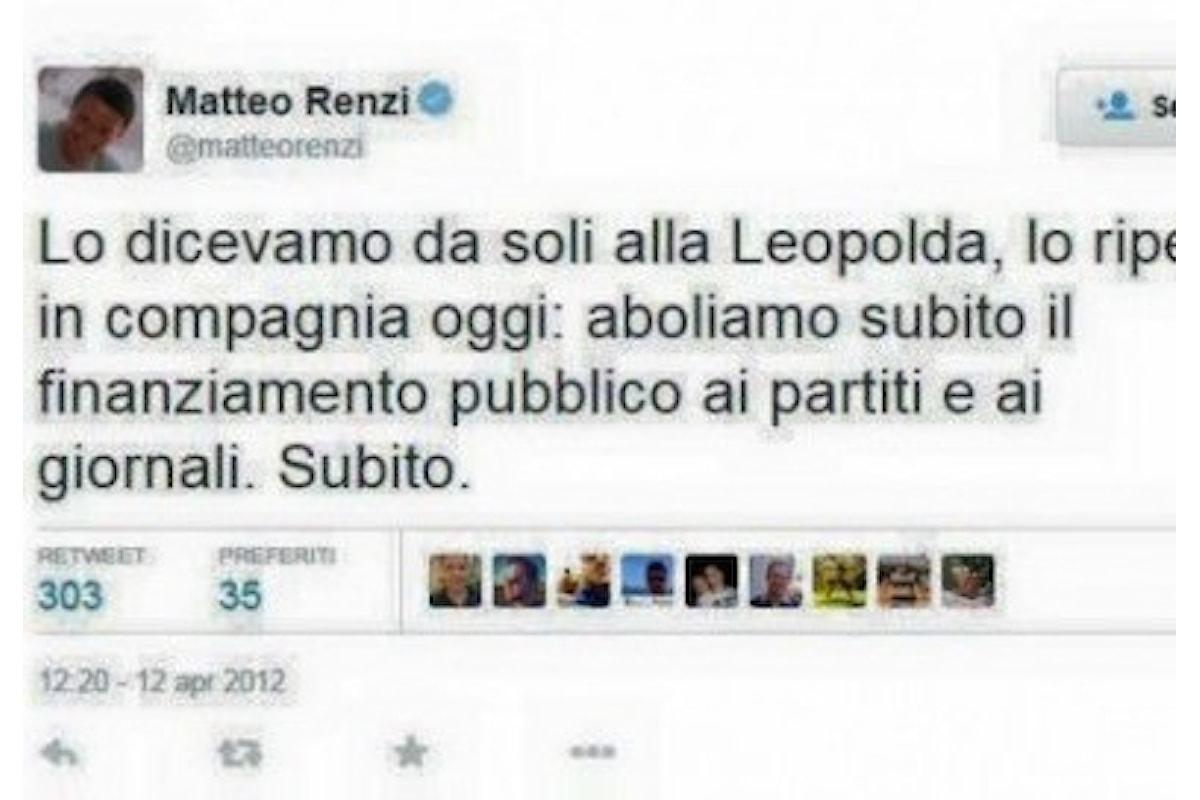 Finanziamento pubblico ai giornali: i nuovi regali di Renzi