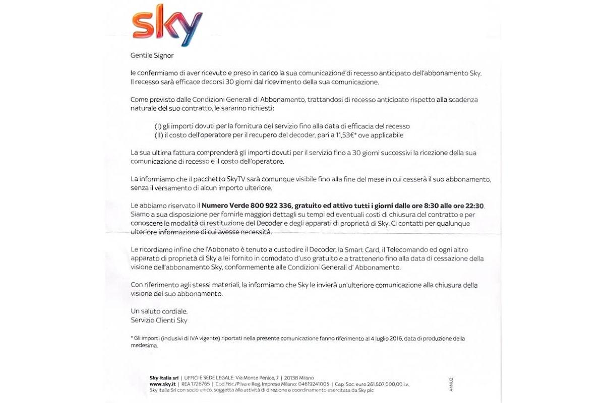 La risposta di Sky a chi invia una raccomandata di recesso per variazioni contrattuali