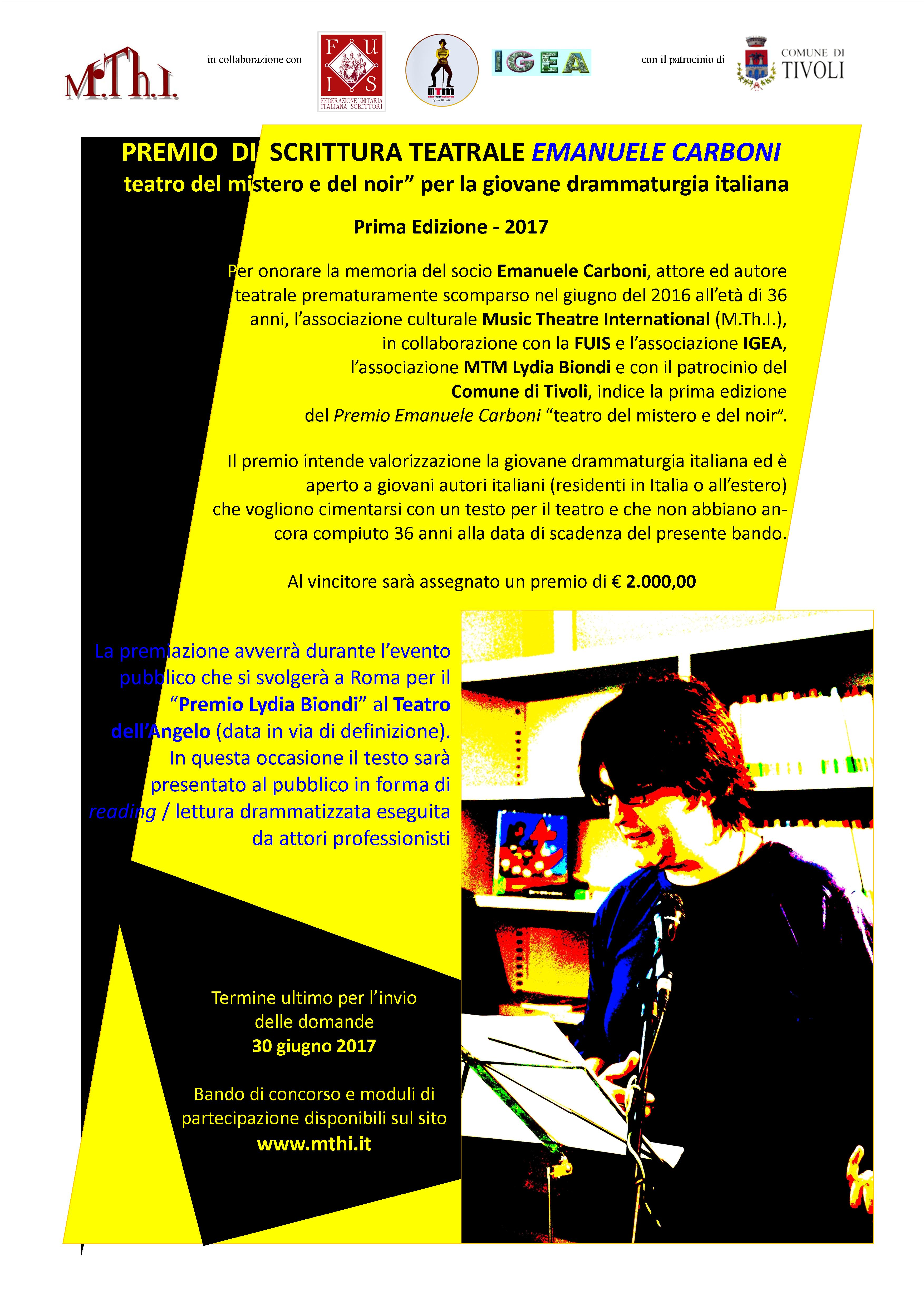 Premio di scrittura teatrale EMANUELE CARBONI